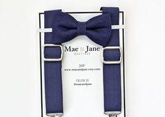 Boys Bow Tie and Suspenders SET! Solid navy blue boys bow tie with Navy Blue suspender, wedding bow tie suspenders set by MaeAndJane on Etsy https://www.etsy.com/listing/238328818/boys-bow-tie-and-suspenders-set-solid