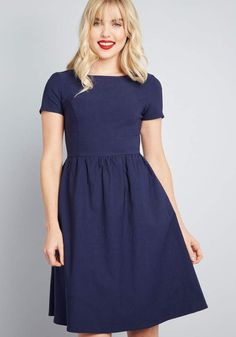 6c10df2917f61 Because so many locales and occasions are welcoming of this navy blue dress,  it's primed to be worn here, there, and everywhere. From our ModCloth.