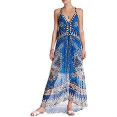 Hale Bob Halter Maxi Print Silk Dress ($160) ❤ liked on Polyvore featuring dresses, blue, white sleeveless dress, white silk dress, white halter top, halter maxi dress and sleeveless maxi dress