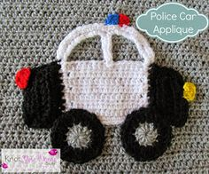 Crochet-Police-Car-Applique & more applique inspiration for Boys
