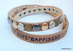 wikkelarmband love*hope happiness - koper - www.MonnieZ.nl