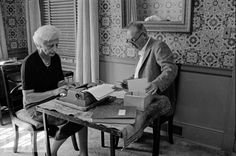 The Nabakovs At Work  Russian-born American author Vladimir Nabokov (1899 - 1977) dictates from notecards while his wife Vera (nee Slonim, 1902 - 1991 types on a manual typewriter, Ithaca, New York, Sepember, 16 1958.