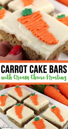 Carrot Cake Bars with Cream Cheese Frosting - chocked full of carrots and cinnamon this yummy cookie bar is frosted with delicious cream cheese frosting. Kid Desserts, Delicious Desserts, Dessert Recipes, Cake Recipes For Kids, Easter Recipes, Cupcakes, Cupcake Cakes, Cookies And Cream Frosting, Carrot Cake Bars