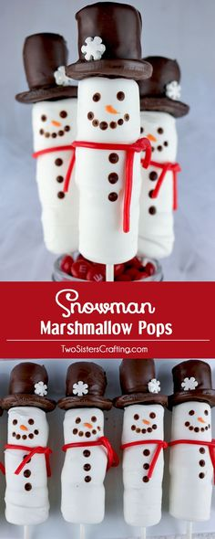 Snowman Marshmallow Pops - a fun Christmas Treat. Candy coated marshmallows on a stick with an Oreo cookie hat. These candy Snowmen are so adorable and so fun to make. They would be perfect for a Holiday Bake Sale or your child's school Christmas Party. Grab some Marshmallows and get started making this cute Christmas Dessert. Follow us for more great Christmas Food Ideas.