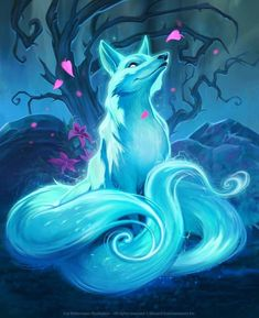 Beautiful fox artwork Fox Spirit, Cute Drawings, Animal Drawings, Furry Art, Magical Creatures, Cute Fantasy Creatures, Fantasy Wolf, Gobelin, Gumiho