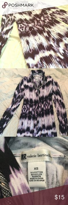 Tie-Dyed Long Cardigan - Size XS Excellent used condition. purple, black & white. Great casual sweater paired with black jeans and boots. Valerie Bertinelli Sweaters Cardigans