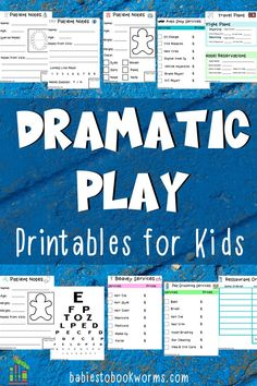 These dramatic play printables encourage kids to use their imagination, while practicing important skills! Dramatic Play Themes, Dramatic Play Area, Dramatic Play Centers, Writing Practice, Writing Skills, Teaching Channel, Eye Chart, Educational Activities For Kids, Best Children Books