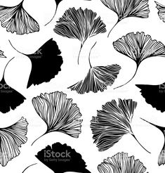 Seamless floral pattern with Ginkgo leaves. royalty-free stock vector art