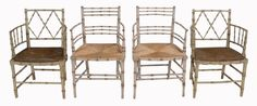 A pair of simulated bamboo armchairs in Regency style : Lot 257