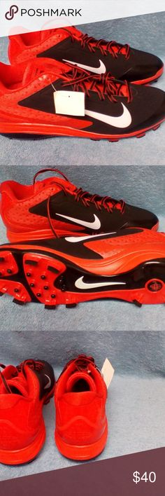 Men's Nike Air Huarache Baseball Cleats Sz 13 NWT Men's Nike Air Huarache orange and black baseball cleats new with tag but no box in never worn new condition. Nike Shoes Athletic Shoes