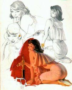 AL BUELL - TITLE: Brunette In Harem Pyjamas  DATE: 1959  NOTES: Publisher: Brown & Bigelow.