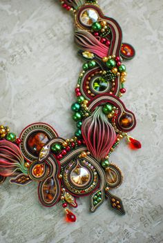 peach crystal bead embroidered necklace green Red Statement Shibori beaded choker beadwork silk pendant necklace OOAK
