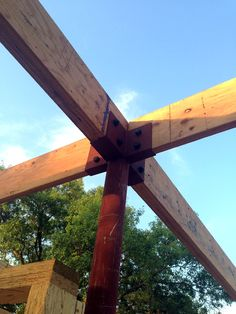 wood beams supported by steel post