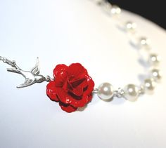 Flower Necklace, Red Rose Necklace, White Pearls, Wedding Jewelry, Bridesmaid Gift, Sterling Silver chain available, Mothers day gift via Etsy