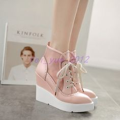 Womens Sweet Mesh Lace Up High Wedge Heels Shoes Walking Creeper Casual Sneakers