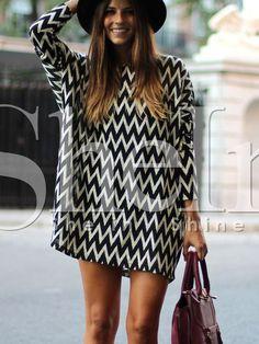 Vestido manga larga geométrico -negro blanco 19.39