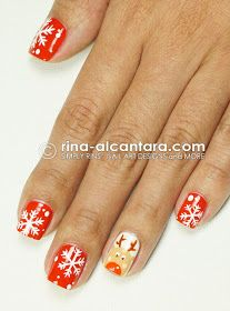 Rudolph Plays With Snowflakes Nail Art Design