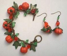 Halloween Pumpkin bracelet and earrings  Handmade by insou on Etsy, $40.00