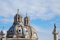 Roman skyline  l-r: Santa Maria di Loreto, Santissimo Nome di Maria, St. Peter atop Trajan's Column