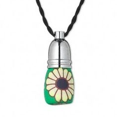 Yellow Daisy Flower Green Poly Clay Glass Little Perfume Bottle Pendant Necklace