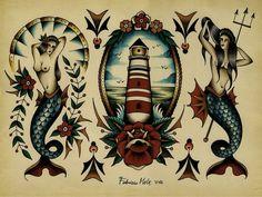 mermaid traditional tattoo   Tumblr