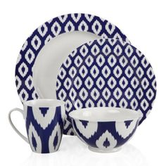 Kenza Dinnerware - Indigo from Z Gallerie. Love the ikat mug, the plates not so much/at all.