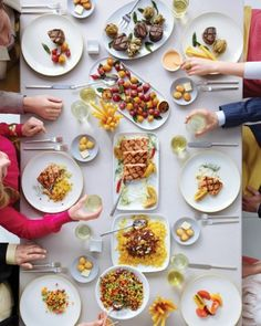 "EAT FAMILY-STYLE   35 of 50  ""Serving your meal family-style will add ambience, act as an icebreaker, save you on table decor -- in this case, the food is the centerpiece -- and allow you to serve a menu of reasonably priced, festive dishes, like pasta, polenta, and risotto, that would never fly at a plated dinner,"" says Marcey Brownstein, of Marcey Brownstein Catering & Events in New York City."