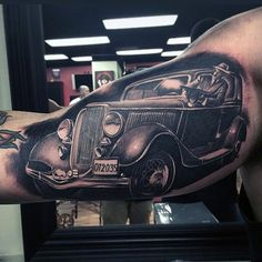 Vintage Car Mobster Gangster Mens Bicep Tattoos