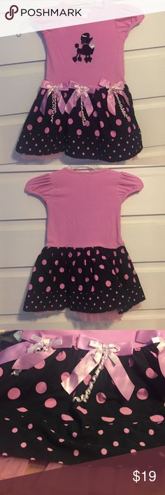 🍾NWOT Bonnie Jean Pink/Black Poodle Dress. 3T 🍾NWOT Bonnie Jean Pink/Black Poodle Dress. 3T. Super cute girly polkadots stir with pink top and black velveteen poodle with ribbon detail. New without tag never worn. Bonnie Jean Dresses Casual