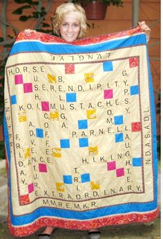 Scrabble quilt! The words on the quilt are words that mean a lot to her. I'm doing this.