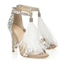 White Feather Fringed Rhinestone High Heels