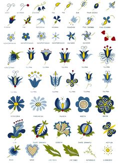 Kashubian embroidery patterns (Poland). Meaning of colors: royal blue – lakes; blue – sky; navy - profound depth of the Baltic sea; yellow - fields of ripening grain or sun; green - the forests and meadows; red - the blood; black - the earth on the field waiting to be sown and Kashubian's hard work.
