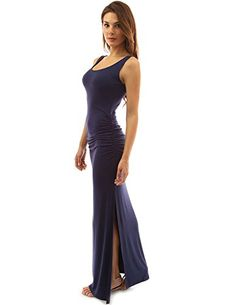 PattyBoutik Womens Sleeveless Summer Maxi Dress Navy Blue S *** Read more  at the image link.