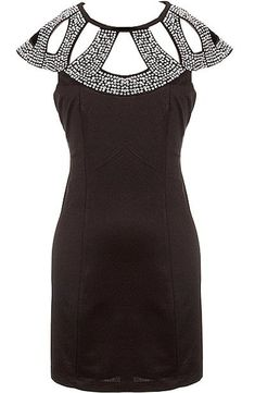Beaded Armor Dress: Features an amazing beaded decolletage with modern cutouts for subtle exposure, flattering cap sleeves, adjustable ribbon closure behind the neck, and a centered rear zip closure to finish.