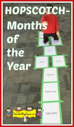 Great way to practice the months of the year and get the kids moving!  We drew pictures on each month to help the children remember the events/holidays/weather.