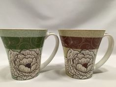 Johnson Brothers Floral Cups Mugs Green Tan White Set of 2 #JohnsonBrothers