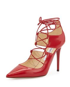Hoops+Lace-Up+Leather+Pump,+Red+by+Jimmy+Choo+at+Neiman+Marcus.