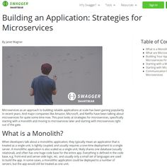 Building an Application: Strategies for Microservices - Article for Swagger.io https://swagger.io/resources/articles/building-an-application-with-microservices/