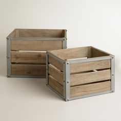 Corral your clutter with our Sebastian Crates. Inspired by apple crates during fall harvest, these sturdy wooden boxes offer up plenty of rustic charm with a touch of industrial edge. >> #WorldMarket Storage and Organization