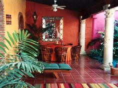 From Jalisco Mexican style decoration - Mexican decor Mexican Patio, Mexican Hacienda, Hacienda Style, Mexican Interior Design, Porch And Balcony, Mexico Style, Southwest Decor, Southwest Style, Dark Interiors