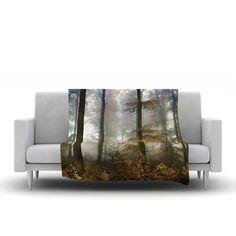 """Iris Lehnhardt """"Forest Mystics"""" Brown Gray Fleece Throw Blanket"""