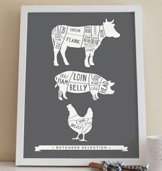 butcher selection kitchen print by old english company | notonthehighstreet.com