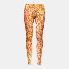 """Autumn foliage"" Girl's Leggings by Savousepate on Live Heroes #leggings #leggins #pants #kidsclothing #kidsapparel #orange #yellow #red #foliage #leaves #nature #autumncolors #fallcolors #pattern #drawing #watercolor"