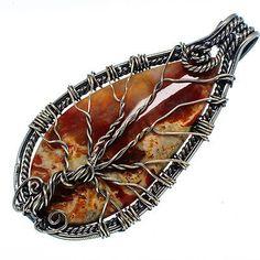 """Huge Butterfly Jasper Tree 925 Sterling Silver Pendant 3"""" Jewelry P576074"""