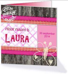 Maak je eigen houten geboortekaartje op kaartopmaat.nl.