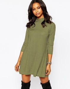 Image 1 of Boohoo High Neck Ribbed Swing Dress 3/4 Sleeve