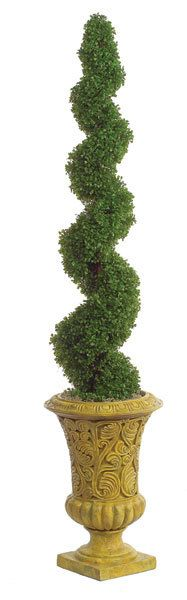 """Artificial Spiral Boxwood Topiary for special events and venues.    Commercial quality plant like features Copper Pipe Trunk Weight base included Plant stands 5ft tall Plant width 12"""" Plant tip count 1,492 Decorative pot sold separately Don't see what you need?  Call us for further customized products."""