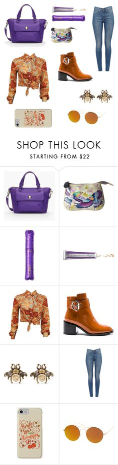"""""""Purple and orange 🍊"""" by irissa997 ❤ liked on Polyvore featuring Talbots, Anuschka, tarte, Chantecaille, Jeffrey Campbell, Gucci and SW Global"""