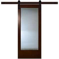 Steves & Sons 36 in. x 84 in. Modern Full Lite Rain Glass  - $358 at Home Depot   Stained Pine Interior Barn Door with Sliding Door Hardware Kit