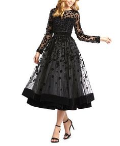 Long-Sleeve Tea-Length Floral Applique Cocktail Dress by Mac Duggal at Neiman Marcus Mac Duggal, Tea Length Cocktail Dresses, Black Tea Length Dress, Formal Cocktail Dress, Tea Length Dresses, Applique Cocktail Dress, Midi Dresses Online, Review Dresses, Looks Style